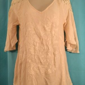Miss me Sz s sheer boho lace embroidered top